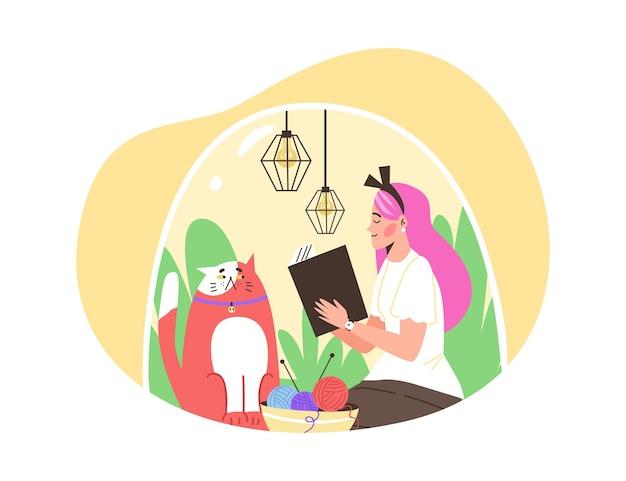 Szczęśliwa dziewczyna introwertyk siedząca pod przezroczystą kopułą z kotem i czytającą książkę