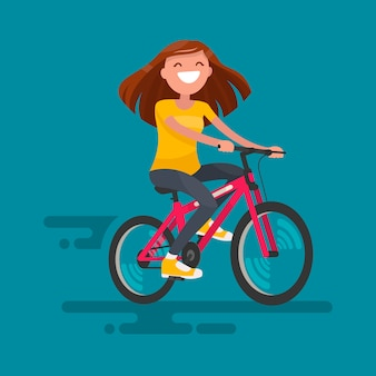 Szczęśliwa dziewczyna jedzie rowerową ilustrację