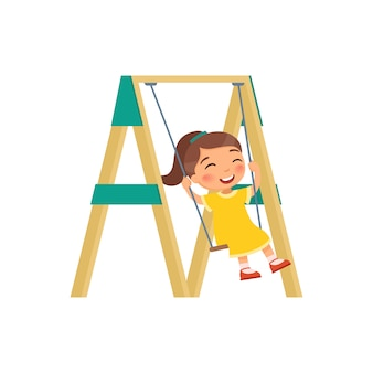 Szczęśliwa dziewczyna kołysze się na huśtawce. ilustracji wektorowych