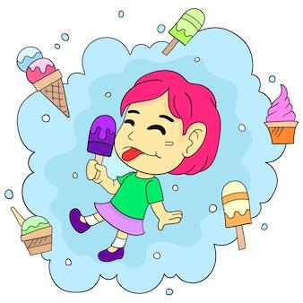Szczęśliwa dziewczyna korzystających z lodów. ilustracja kreskówka śliczna mała dziewczynka naklejka