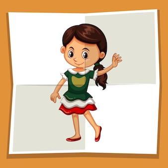 Szczęśliwa dziewczyna macha ręką