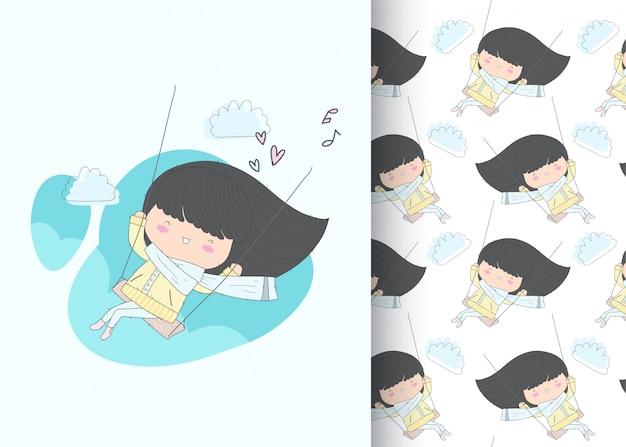 Szczęśliwa dziewczyna na huśtawce bez szwu