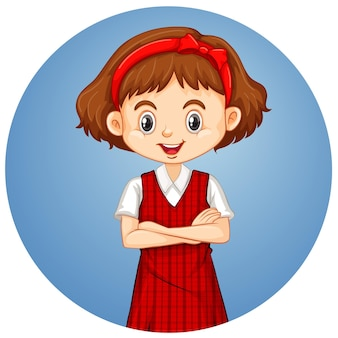Szczęśliwa dziewczyna na okrągłym tle