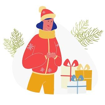 Szczęśliwa dziewczyna odbiera na prezenty świąteczne, wakacje
