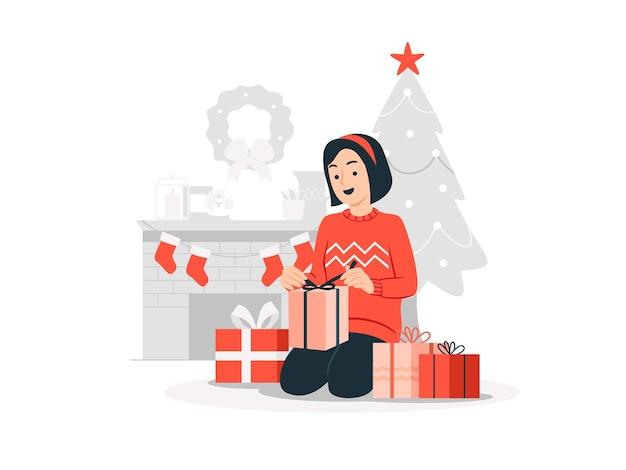 Szczęśliwa dziewczyna otwierając pudełko prezent świąteczny ilustracja koncepcja