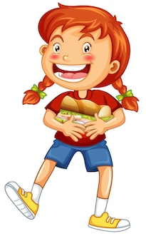 Szczęśliwa dziewczyna postać z kreskówki przytulająca kanapkę z jedzeniem