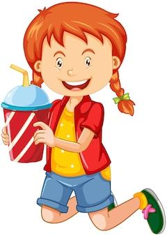 Szczęśliwa dziewczyna postać z kreskówki trzymająca plastikowy kubek napoju