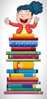 Szczęśliwa dziewczyna przeskakująca stos książek