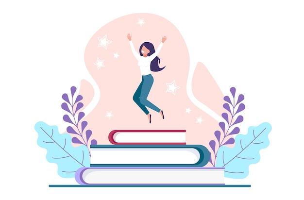 Szczęśliwa dziewczyna przeskakuje podręczniki. ukończenie szkoły