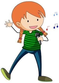 Szczęśliwa dziewczyna śpiewa doodle postać z kreskówki na białym tle
