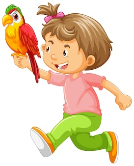 Szczęśliwa dziewczyna trzyma papugę