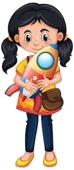 Szczęśliwa dziewczyna trzyma rakietową zabawkę