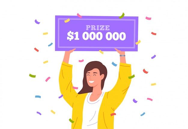 Szczęśliwa dziewczyna wygrywa na loterii. ogromna nagroda pieniężna w loterii. szczęśliwy zwycięzca trzyma czek bankowy na milion dolarów. ilustracja