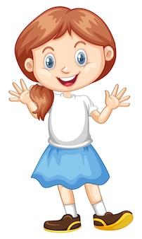 Szczęśliwa dziewczyna z dużym uśmiechem na sobie niebieską spódnicę