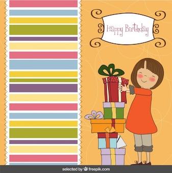 Szczęśliwa dziewczyna z karty prezenty urodzinowe
