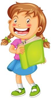 Szczęśliwa dziewczyna z książką na białym tle