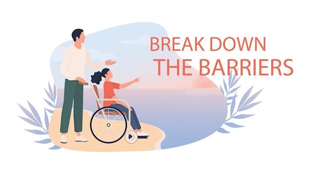 Szczęśliwa dziewczynka na wózku inwalidzkim z ojcem na plaży. dziecko niepełnosprawne bawi się na dworze, świat bez barier dla osób niepełnosprawnych. pomysł na baner internetowy lub plakat.