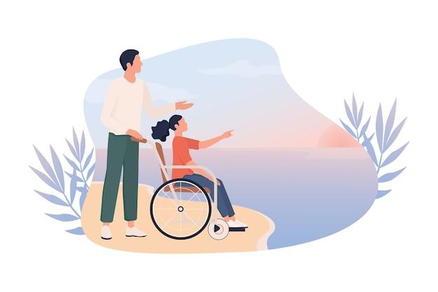 Szczęśliwa dziewczynka na wózku inwalidzkim z ojcem na plaży. niepełnosprawne dziecko bawi się na zewnątrz, koncepcja świata bez barier dla osób niepełnosprawnych. pomysł na baner internetowy lub plakat.