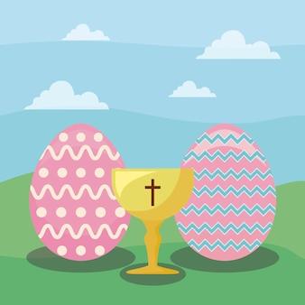 Szczęśliwa easter dnia karta z jajkami i kielichem