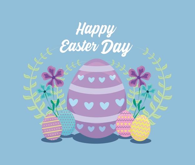 Szczęśliwa easter dnia karta z jajkami i kwiatami