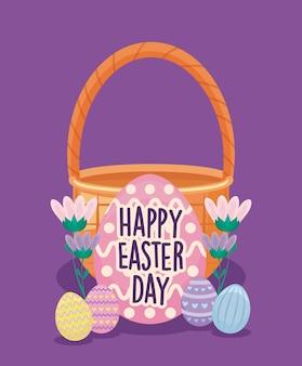 Szczęśliwa easter dnia karta z koszykowym łozinowym i jajkami