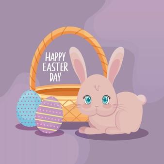 Szczęśliwa easter dnia karta z ślicznym królikiem i jajkami