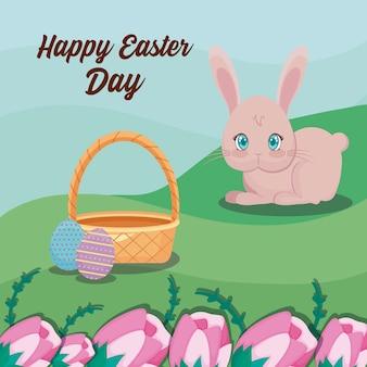 Szczęśliwa easter dnia karta z ślicznym królikiem i krajobrazem