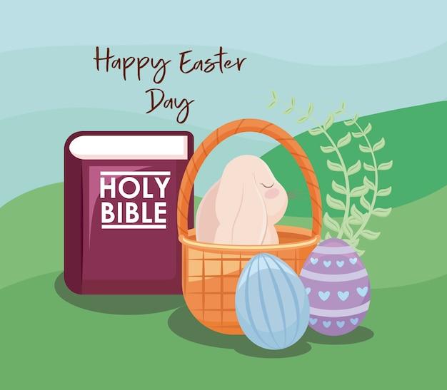 Szczęśliwa easter dnia karta z ślicznym królikiem i świętą biblią