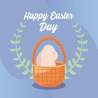 Szczęśliwa easter dnia karta z ślicznym królikiem w łozinowym koszu