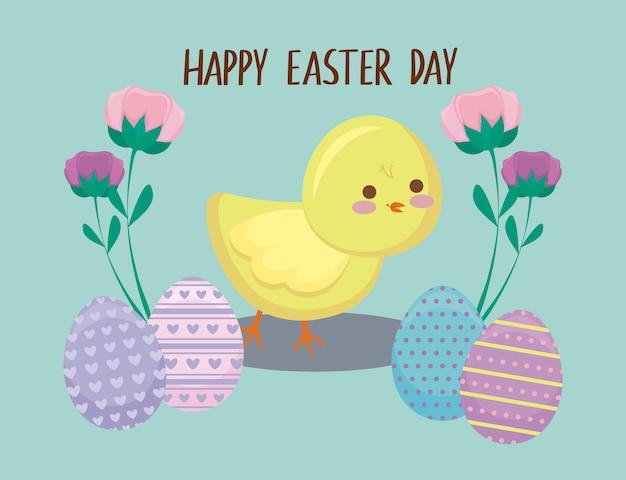 Szczęśliwa easter dnia karta z ślicznym kurczakiem i jajkami