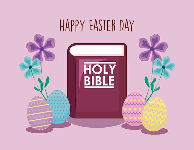 Szczęśliwa easter dnia karta z świętą biblią i jajkami
