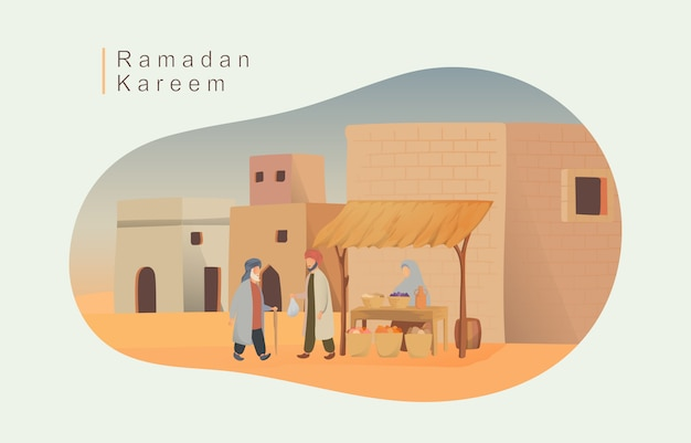 Szczęśliwa eid mubarak i ramadan ilustracja