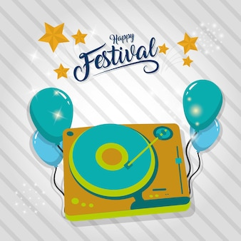 Szczęśliwa festiwal karta z partyjną dekoracją