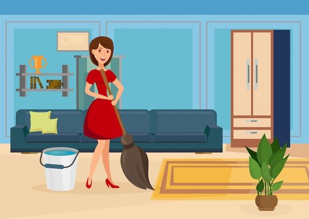 Szczęśliwa gospodyni domowa czyści płaską wektorową ilustrację