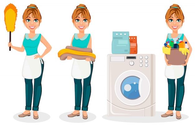 Szczęśliwa gospodyni domowa. postać z kreskówki wesoły matka