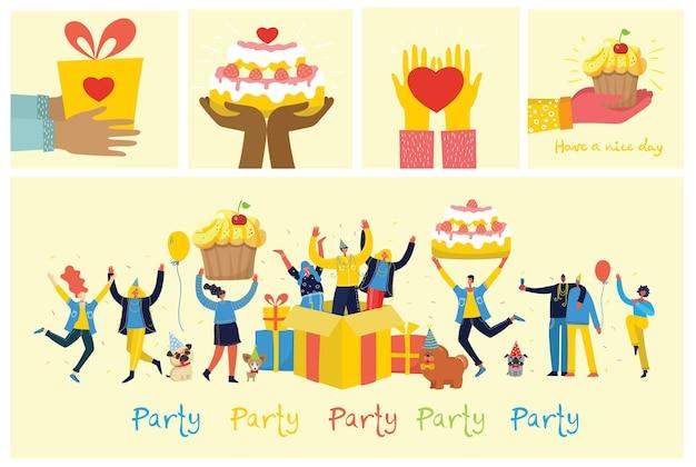 Szczęśliwa grupa ludzi w partii z dużym tortem i prezentami. wszystkiego najlepszego z okazji urodzin
