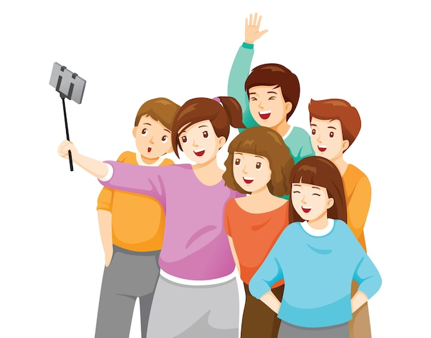Szczęśliwa grupa młodzieży biorących selfie