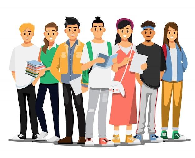 Szczęśliwa grupa nastoletnich studentów uniwersytetu. ilustracja postać z kreskówki.