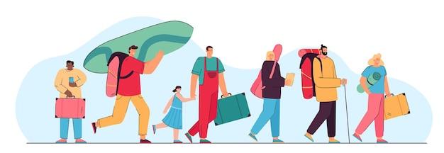 Szczęśliwa grupa turystów chodzących z walizkami na białym tle płaska ilustracja