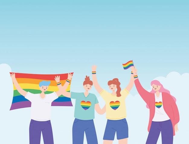 Szczęśliwa grupa uroczystości parady gejów