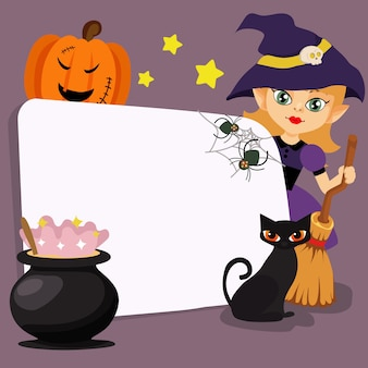 Szczęśliwa halloween sztuczki lub funda czarownika kreskówka