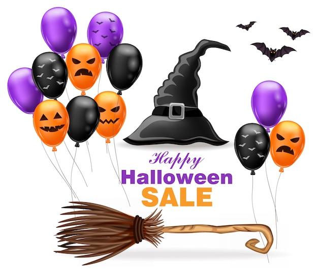 Szczęśliwa halloweenowa sprzedaż z czarownica kapeluszem i kolorowymi balonami