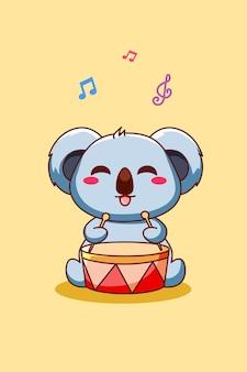 Szczęśliwa i urocza koala grająca na bębnie ilustracja kreskówka