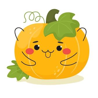 Szczęśliwa i wesoła dynia na halloween ilustracja wektorowa emoji