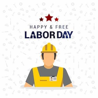 Szczęśliwa I Wolna Usa Dzień Pracy Karty Darmowych Wektorów