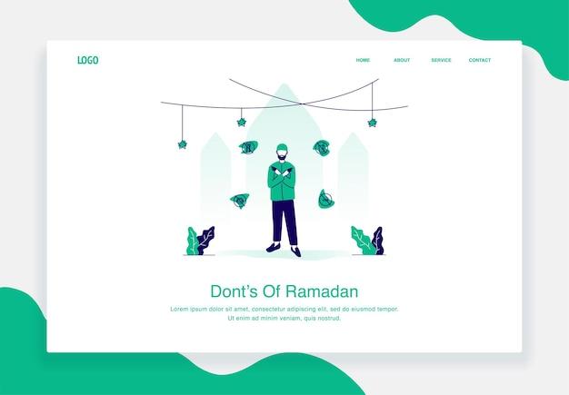 Szczęśliwa ilustracja koncepcja eid al fitr przedstawiająca mężczyznę mówiącego rzeczy nie powinno się robić podczas płaskiej konstrukcji ramadanu