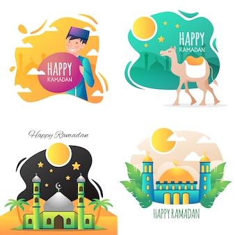 Szczęśliwa ilustracja ramadan