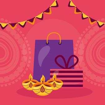 Szczęśliwa karta diwali z torbą na zakupy i świecami