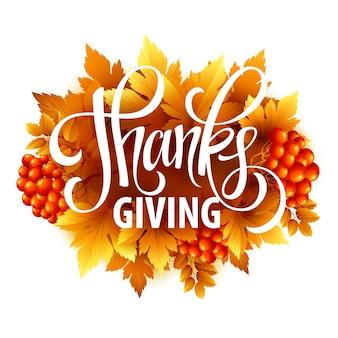 Szczęśliwa karta dziękczynienia z pozdrowieniami tekstowymi i jesiennymi liśćmi