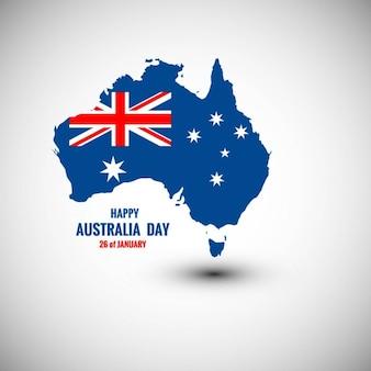 Szczęśliwa karta dzień australii na mapie